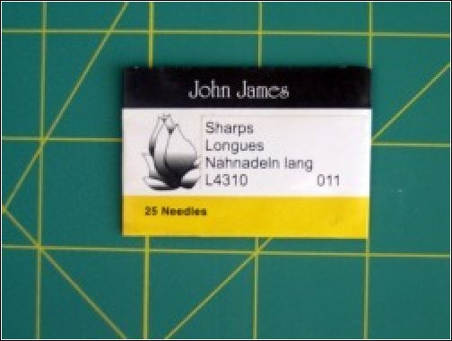 Hand Quilting Needles by John James Size #11 Sharps