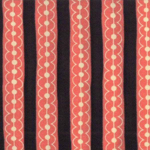 Sassy Dotty Stripes Black/Coral - 17647-23