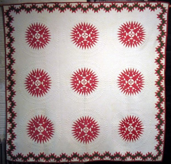 MARINER'S COMPASS, DELECTABLE MOUNTAINS BORDER, red and white