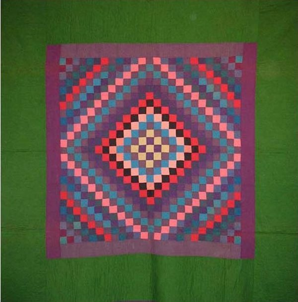 AMISH SUNSHINE AND SHADOW ANTIQUE QUILT, wool, green border