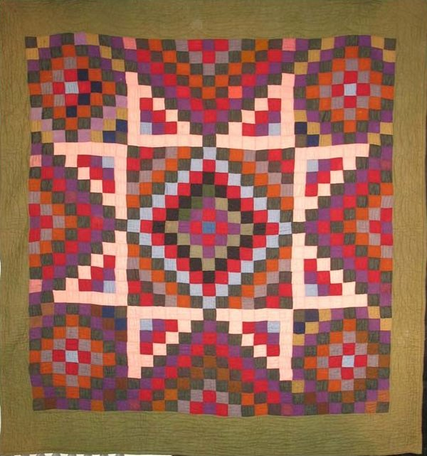 BOWMANSVILLE STAR-TYPE ANTIQUE QUILT,  wool