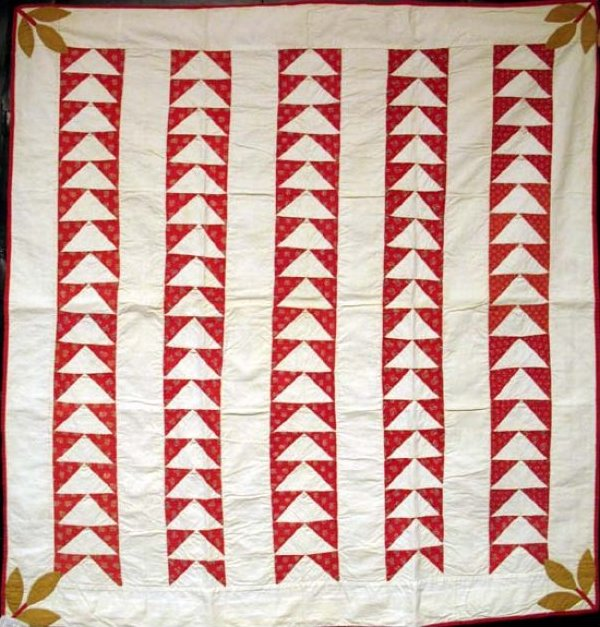 FLYING GEESE 'BARS' ANTIQUE CRIB QUILT, corner leaves, red and white