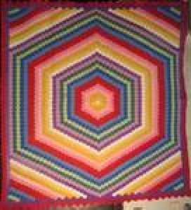 DOUBLE HEXAGONS VINTAGE QUILT, brilliant colors