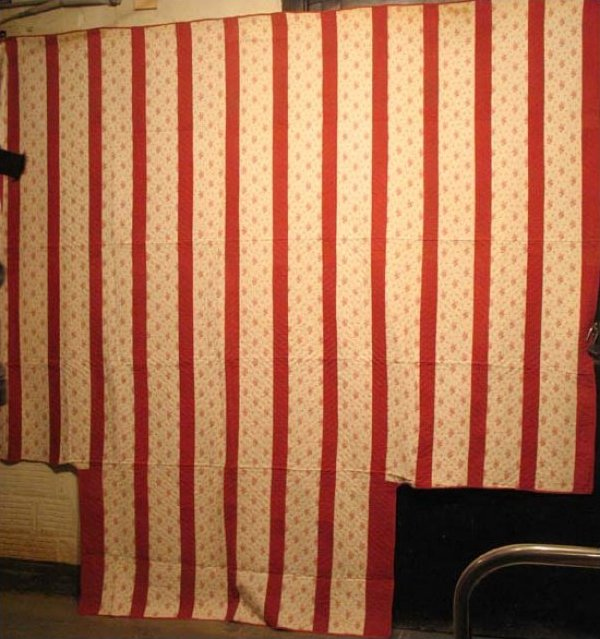 STRIPED ANTIQUE COUNTERPANE CUT CORNERS New England, reds and white