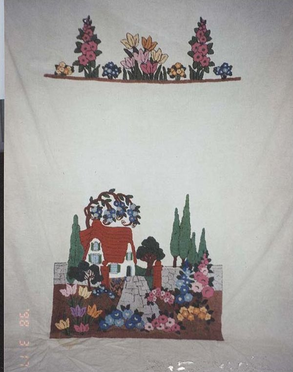 COTTAGE LANDSCAPE EMBROIDERED VINTAGE BEDSPREAD