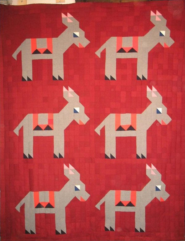 GIDDAP PATTERN DONKEYS VINTAGE QUILT TOP