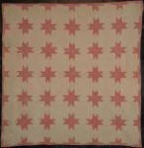EIGHT POINT STARS ANTIQUE CRIB QUILT red and white