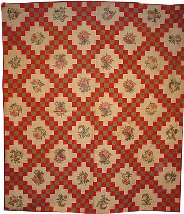 BRODERIE PERSE IRISH CHAIN ANTIQUE QUILT