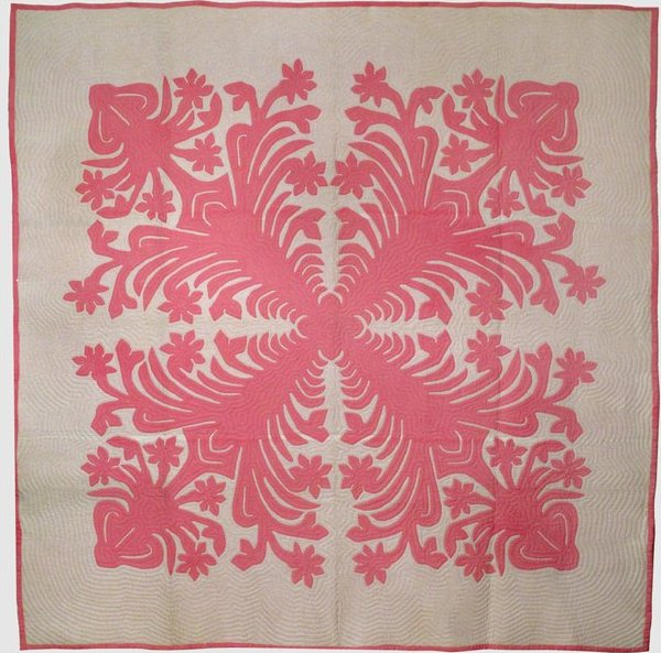 HAWAIIAN APPLIQUE VINTAGE QUILT, pink and white