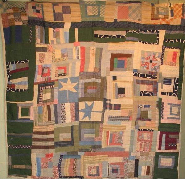 AFRICAN AMERICAN HOUSETOP, SWEET GUM LEAF ANTIQUE QUILT
