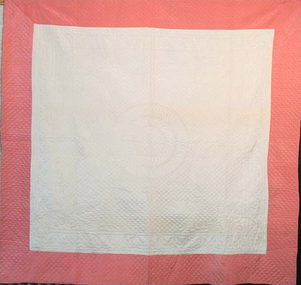 FRAMED WHOLE CLOTH ANTIQUE QUILT salmon and ivory