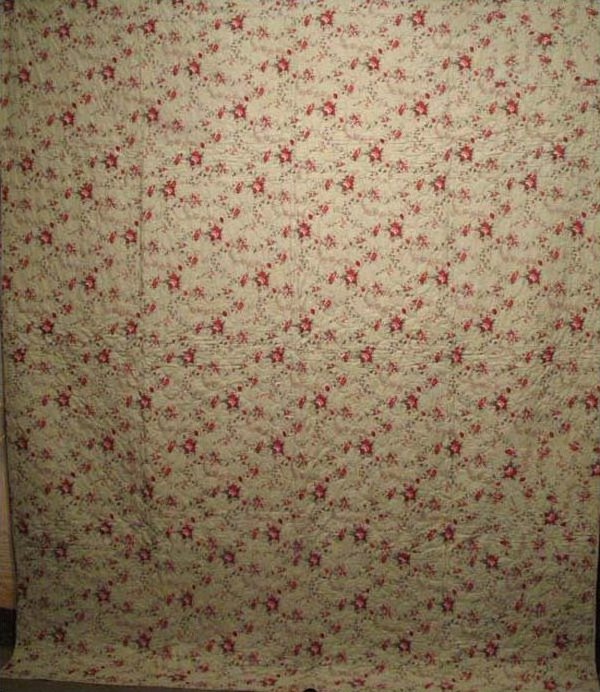 WHOLE CLOTH GLAZED COTTON PRINT ANTIQUE QUILT, rose print on pale mint green