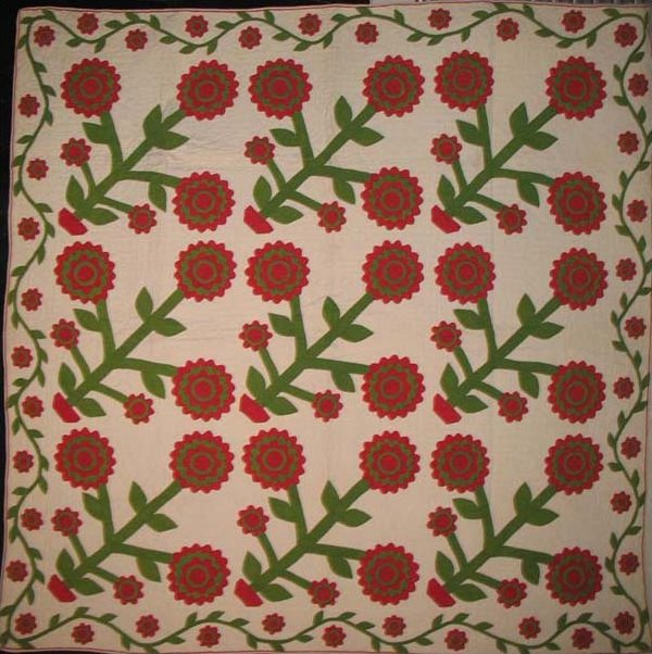 LAYERED FLOWERS IN A TINY POT ANTIQUE APPLIQUE QUILT, vine border