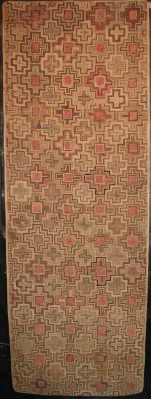 BLANDFORD CROSS, CENTER SQUARES ANTIQUE HOOKED RUG