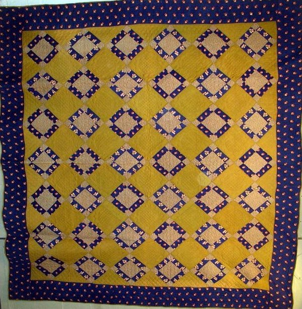 PUSS IN THE CORNER NINE PATCH ANTIQUE QUILT, WOOL CHALLIS