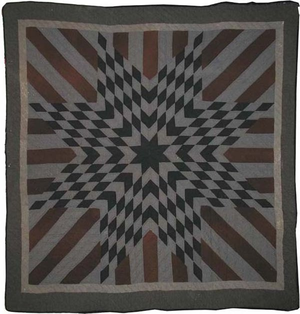 STARBURST WITH STRIPED ARMS ANTIQUE QUILT. wool