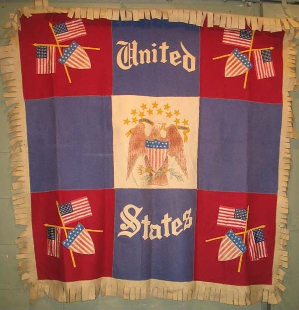 PATRIOTIC BANNERS PIECED ANTIQUE COVERLET, WALL HANGING
