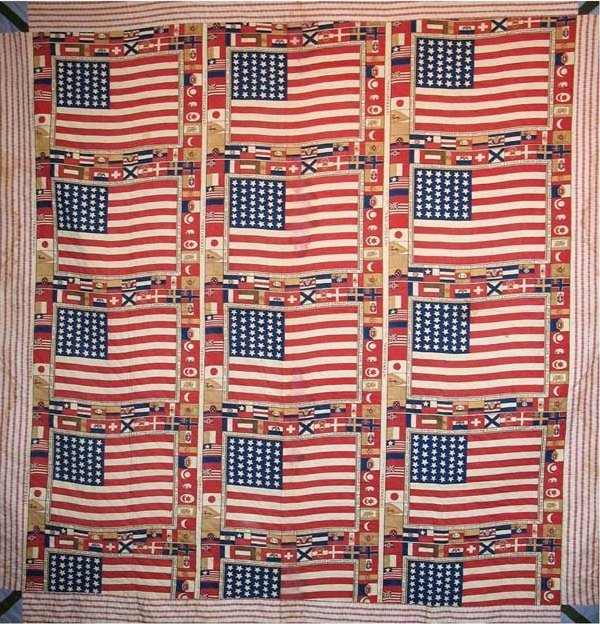 AMERICAN FLAGS CENTENNIAL 1876 COMMEMORATIVE ANTIQUE QUILT