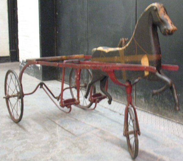 CHILD'S ANTIQUE RIDING TOY - SULKY HORSE AND CARRIAGE