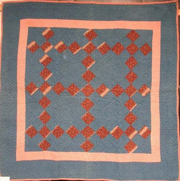 NINE PATCH DIAMOND ANTIQUE CRIB QUILT  early blue