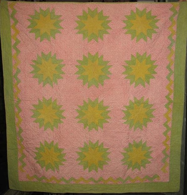PRAIRIE or HARVEST STARS ANTIQUE CRIB QUILT