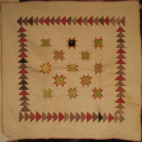 VARIABLE STARS CRIB QUILT, FLYING GEESE BORDER