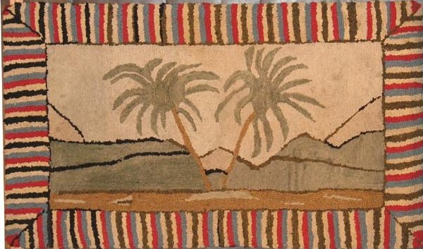 TWO PALMS ANTIQUE HOOKED RUG