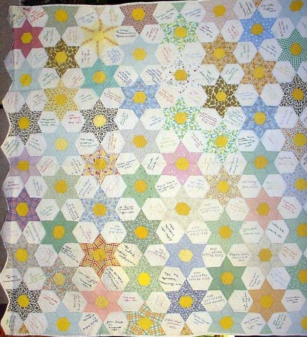 SIX- POINT STARS SIGNED FRIENDSHIP VINTAGE QUILT