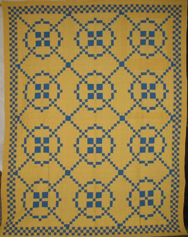 SURROUNDED (9-PATCH VARIATION) VINTAGE QUILT solid blue and yellow : blue and yellow quilt - Adamdwight.com