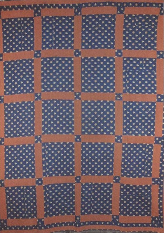 ONE PATCH IN GRID ANTIQUE QUILT indigo print wool challis