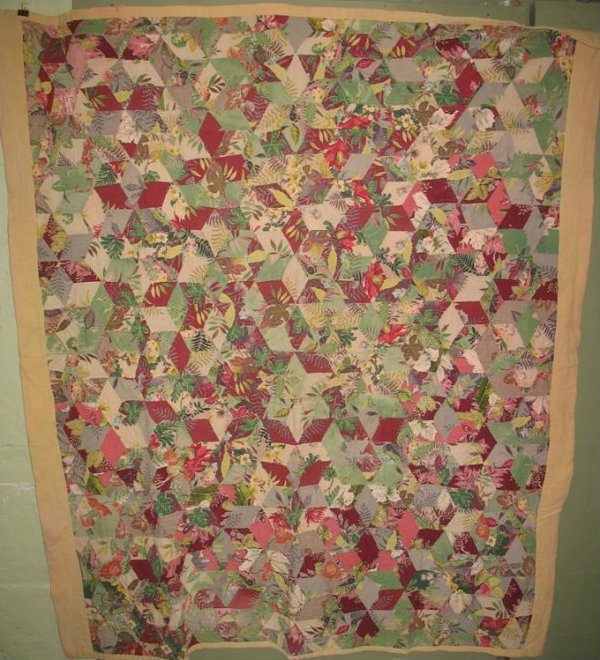 BARKCLOTH TUMBLING BLOCKS VINTAGE QUILT
