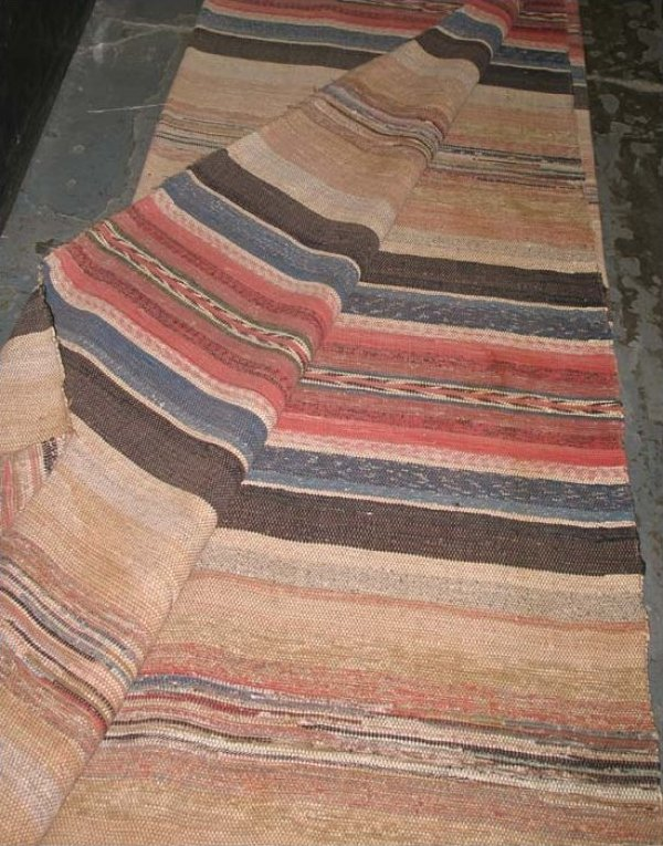 RAG CARPET ANTIQUE,  BOLD STRIPED BANDS room size