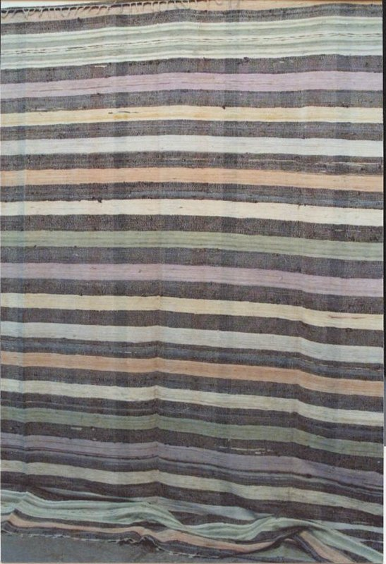 RAG CARPET ANTIQUE, SYMMETRICAL STRIPES, COLORFUL