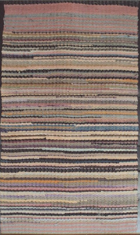RAG CARPET PASTEL RANDOM HORIZONTAL STRIPS