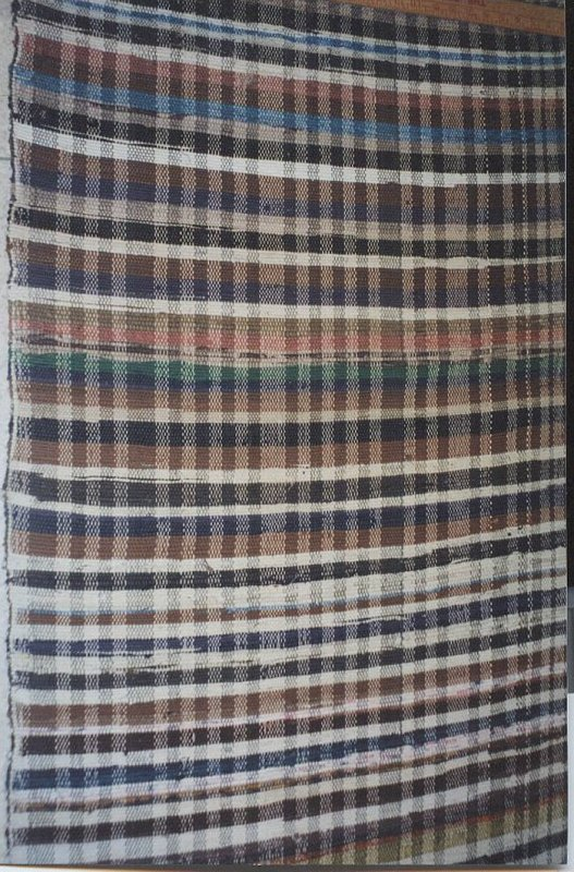 RAG CARPET ANTIQUE, ALL-OVER PLAID dark colors