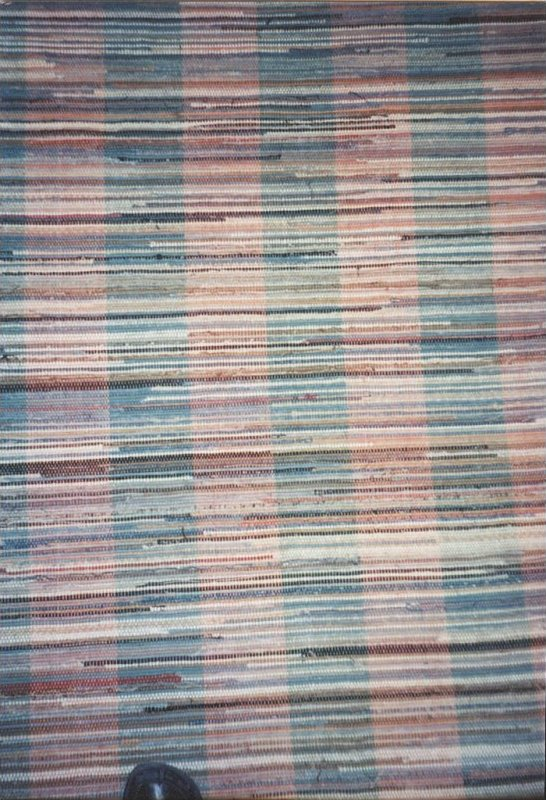 RAG CARPET  ANTIQUE, 62' roll, rose and green tweedy stripes