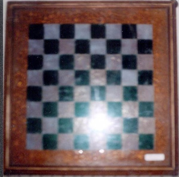 ANTIQUE GAMEBOARD - PIECED GLASS SQUARES