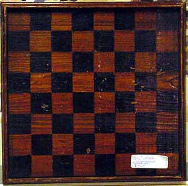 ANTIQUE GAMEBOARD - CORRESPONDENCE CHECKERBOARD reversible