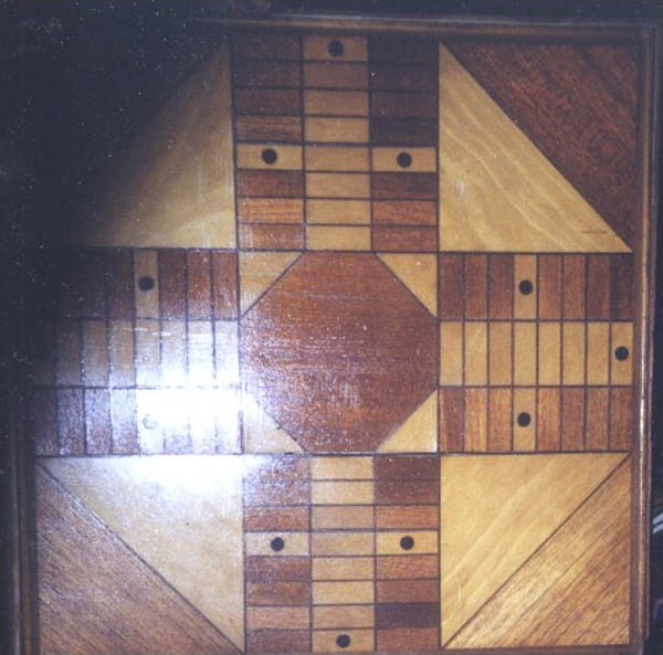 ANTIQUE GAMEBOARD. PARQUETRY PARCHEESI AND CHECKERS,  IN WOOD CASE