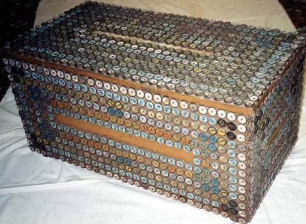 BLANKET CHEST ON WHEELS VINTAGE BOTTLECAPS COVERED