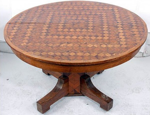 PARQUETRY ANTIQUE ROUND PEDESTAL TABLE