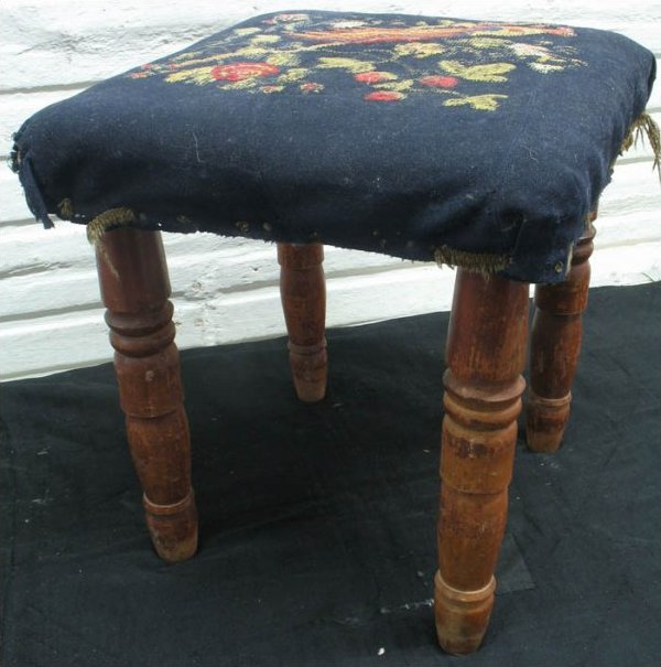 ANTIQUE FOOTSTOOL, crewelwork bird embroidered on blue wool