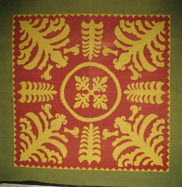 SCHERENSCHNITTE APPLIQUE ANTIQUE QUILT, PA. Mennonite; museum piece