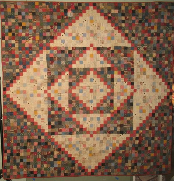 BOWMANSVILLE DIAMONDS IN SQUARES ANTIQUE QUILT, PA.