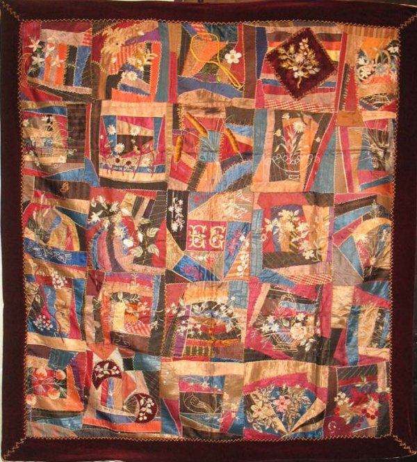 CONTAINED CRAZY 1893 EMBROIDERED FLOWERS ANTIQUE QUILT
