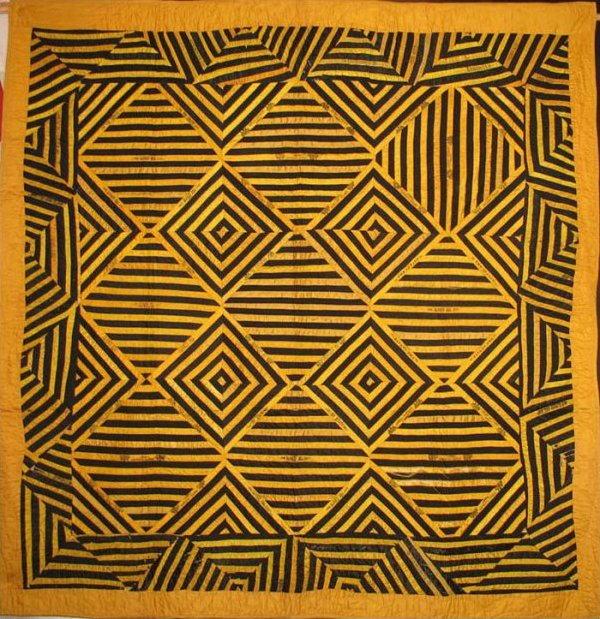CIGAR SILK RIBBONS ANTIQUE PIECED QUILT black and gold