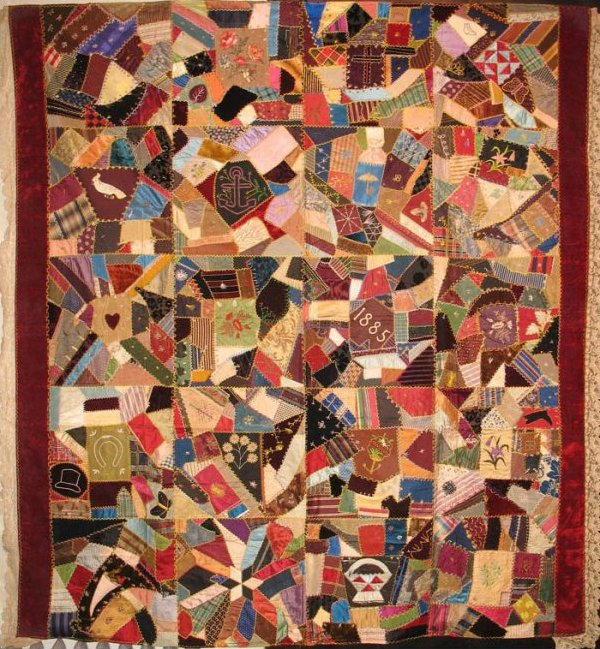 CONTAINED CRAZY ANTIQUE QUILT, 1885, New Jersey, silk,velvet
