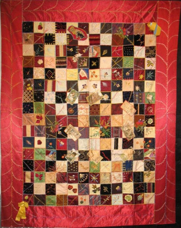 CRAZY QUILT IN SQUARES ANTIQUE SILK QUILT