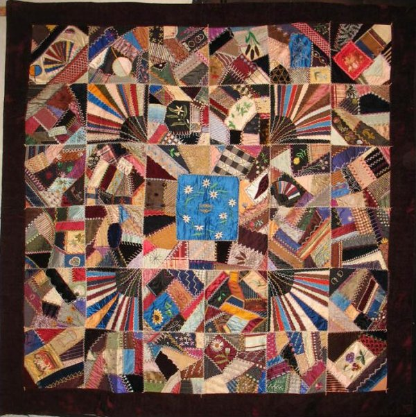 CRAZY QUILT, CENTER BLUE MEDALLION, FANS ANTIQUE QUILT