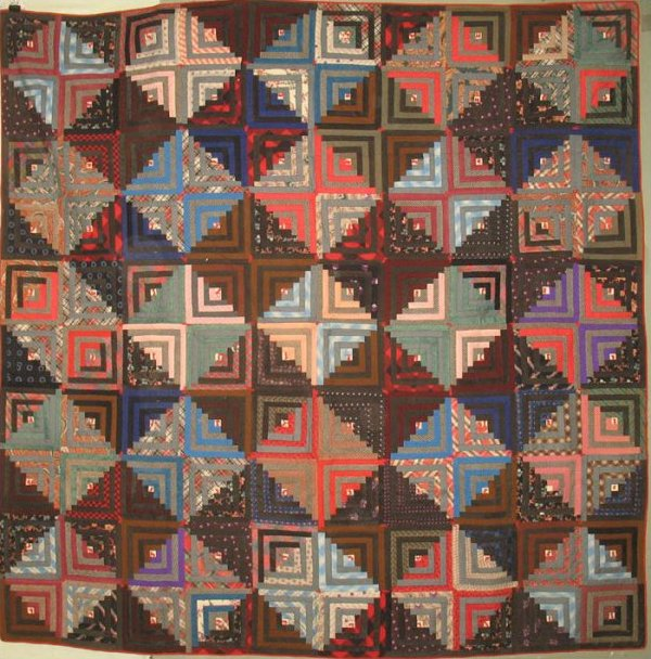 LOG CABIN LIGHT AND DARK ANTIQUE QUILT multicolor diamonds